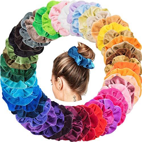 Lecoon 46pcs Ligas para Cabello Scrunchies Velvet Colores Peinados para el Pelo Goma de Pelo Lazo de Pelo…