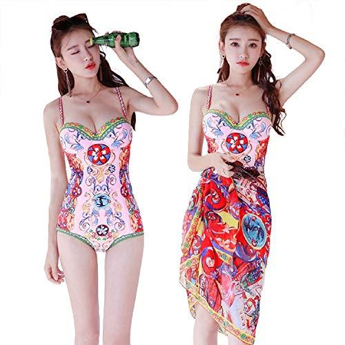 Bjzxz - Traje de baño de 3 piezas para mujer, diseño étnico floral con gasa, modesto, traje de baño de aguas termales (color: multicolor, tamaño: L)