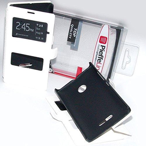 PIEFFELINE Custodia in Eco Pelle Bianca con Cover Protezione Slim View Antiurto per Nokia Lumia 532