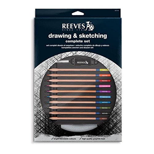 Reeves Sketching 10 Assorted Grade Pencils and Sharpener