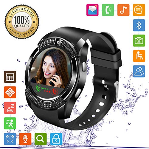 FENHOO Smartwatch Smart Watch Fitness Armband Uhr mit SIM Karte Slot Touchscreen Kamera Schrittzähler Fitness Tracker Kompatible Samsung Huawei Xiaomi Android ios Handy Damen Herren Kinder (Schwarz)