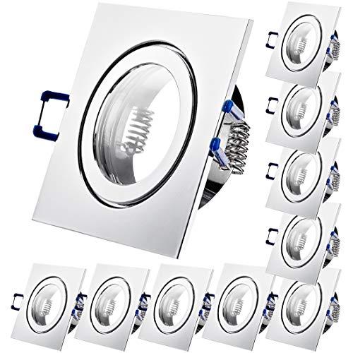 10 x Bad Einbauleuchten 12V inkl. MR16 Fassung Farbe Chrom IP44 Einbaustrahler Neptun Eckig Deckenspots
