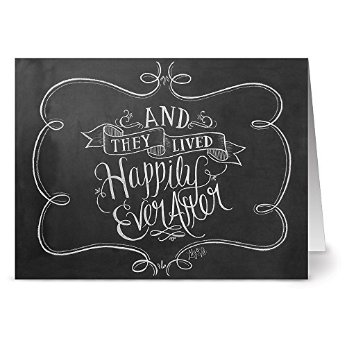 Note Card Cafe Wedding Greeting Card Set with Envelopes | 36 Pack | Blank Inside, Glossy Finish | Happily Ever After | Bulk Set for Greeting Cards, Occasions, Birthdays