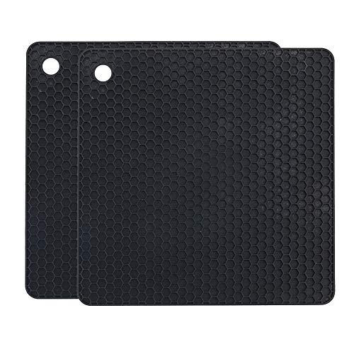 YOFASEN Quadratischer Silikon Topf Untersetzer für Zuhause - Wasserdichter, Hitzebeständiger Matten-Topflappen, rutschfester Untersetzer für die Küche, 18.2 x 18.2 x 0.6 cm, Schwarz, 2 STÜCK