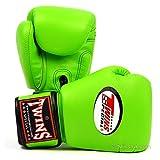 Twins Special - Guantes de boxeo de piel con cierres de velcro, color verde verde verde Talla:16 oz.