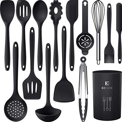 Silicone Cooking Utensils Set - 446°F Heat Resistant Kitchen Utensils,Turner Tongs,Spatula,Spoon,Brush,Whisk.Kitchen utensil Gadgets Tools Set for Nonstick Cookware.Dishwasher Safe (BPA Free)