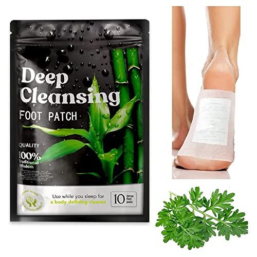 Detox Fußpflaster, 10 Stück 100% natürliche Entgiftungspflaster fördert die Durchblutung und lindert Müdigkeit.Bambusessig und Ingwer-Pulver für Entgiftungskur