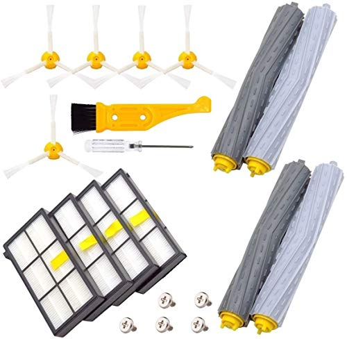 Creatyi Replacement Parts for iRobot Roomba 860 880 805 860 980 960 Vacuums, with 4 Pcs Hepa Filter, 5 Pcs 3-ArmedSide Brush, 2 Set Tangle-Free Debris Rollers