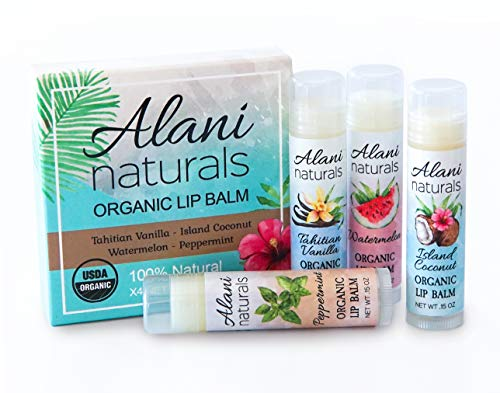 USDA Organic Lip Balm by Alani Naturals – 4 Pack Assorted Flavors – Made with all natural Sunflower Oil, Beeswax, Coconut Oil, Vitamin E and Calendula. Best Lip Repair Chapstick for Dry Lips