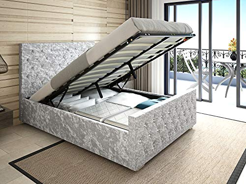 Panana Silver Crushed Velvet Ottoman Bed, Gaslift Large Storage Space Bed Frame (4FT6 Double Bed)