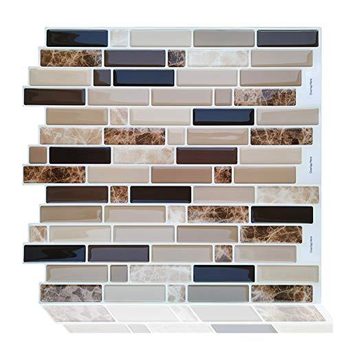 GuoQiang Zhou Adhesivo autoadhesivo para pared, diseño de mosaico, decoración del hogar, vinilo, 10 unidades