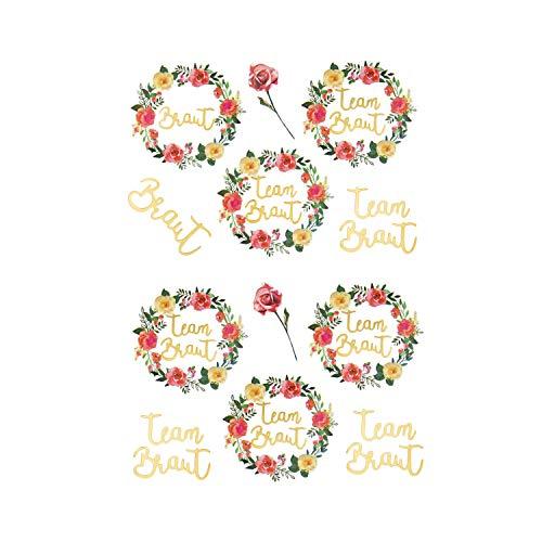 Oblique Unique® Temporäre Klebetattoos JGA Hochzeit Junggesellinnenabschied Tattoo Set Braut - Team Braut mit Rosenkranz Gold