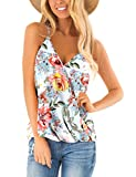 Summer Tops for Women Sexy Deep V Neck Tanks Top Floral Sleeveless Shirts M