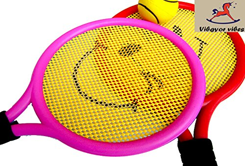 Vibgyor Vibes 2 in 1 Outdoor Indoor Tennis Cum Badminton Play Racket Toys for Kids with a Soft Ball and Shuttle for 5 Years and Above