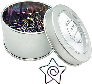 30pcs Rainbow Paper Clips Creative Star Shape Bookmarks Clip Cute in Tinplate Paper Clip Dispenser Holder Round Tin Box fo...