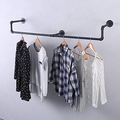 Industrial Pipe Clothing Rack Wall MountedVintage Retail Garment Rack Display Rack Cloths RackMetal Commercial Clothes Racks for Hanging ClothesIron Clothing Rod Laundry Room Decor59in
