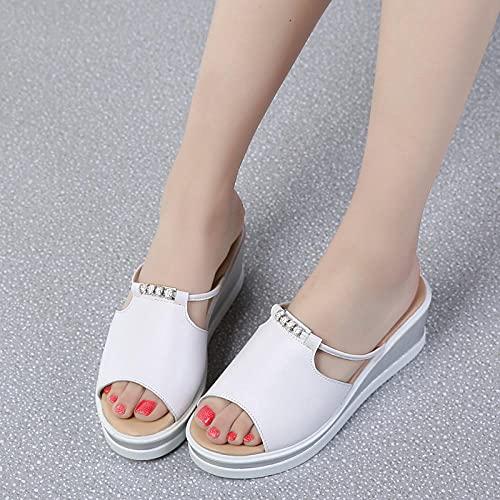 ypyrhh Chaussures de Plage Piscine Claquette,Pantoufles de Fond de Doigt de Fuite, Chaussures de Plage de Mode décontractée-Noir_40,Sandales Femme Plates