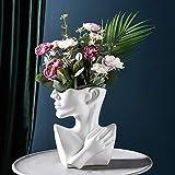 SUREH Whiter Macetero de cabeza de cerámica creativa estatua de cara florero en forma de cuerpo decorativo Cactus Macetas suculentas para interiores y exteriores