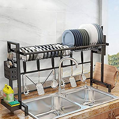 """CharaVector Sink Dish Drying Rack,Counter Organizer for Kitchen Supplies,Storage Shelf for Cutting Board and Utensil Holder,Kitchen Space Saver Dish Drainers with Width Adjustable (22.8""""-36.6"""")(Black) by"""