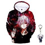 Forlove365 Unisex Anime Tokyo Ghoul 3D Print Pullover Hoodie Sweatshirt with Tokyo Ghoul Keychain (Multicolor-02, Medium)