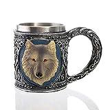 Taza de la jarra, vintage 450 ml 304 acero inoxidable con asa Medieval Viking Warrior Cráneo de la copa de la cerveza, para el jugo de la bebida de café (Color : 2)