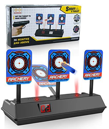 BOIROS Zielscheibe für Nerf, für Waffen der N-Strike Elite / Mega / Rival-Serie - Intelligentes Light-Sound-Effekt-Scoring mit automatischer Rückstellung für Spielzeug für Jungen und Mädchen