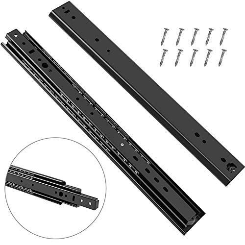 KEILEOHO 2 PCS 16 Inches Black Heavy Duty Drawer Slides,Full Extension Cabinet Rails with 264 LB Load Capacity Ball Bearing Sliding Rail Track for Home Kitchen, with 10 Screws