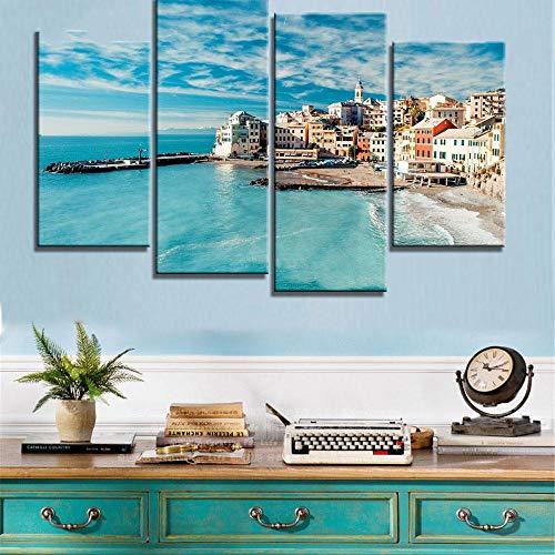 ANTAIBM® Kinderzimmer Schlafzimmer dekorative 4 Malerei Holzrahmen - verschiedene Größen - verschiedene Stile4 Stück HD Printed Italien Landschaft Wandkunst Leinwand Bilder für Wohnzimmer Schlafzimmer