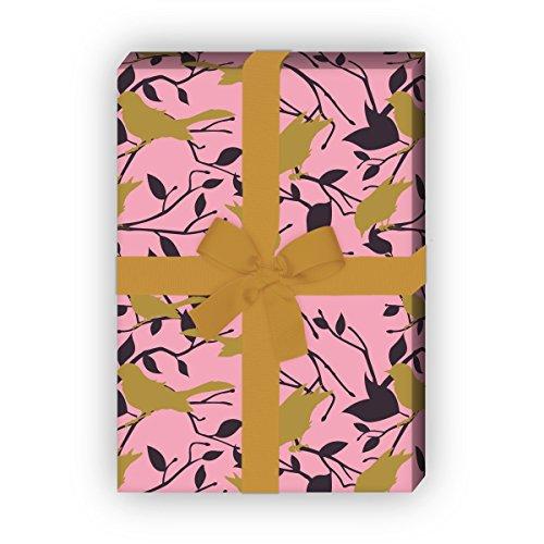Kartenkaufrausch edel cadeaupapier set met vogel silhouetten ook voor bruiloft, roze, voor leuke cadeauverpakking, voor inpakken, designpapier, scrapbooking, 4 vellen, 32 x 48 cm