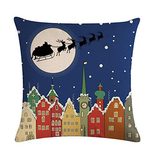 Lino de la Serie de Navidad del Cielo Nocturno Especialmente para la Funda de Almohada del cojín del cojín de la Almohada del sofá Multifuncional explosiva Personalizada 729-2_45 * 45cm
