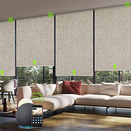 Yoolax Motorized Smart Blind for Window with Remote Control, Automatic Blackout Roller Shade Compatible with Alexa, Child Safety Rechargeable Battery Blind with Valance (Linen Beige)