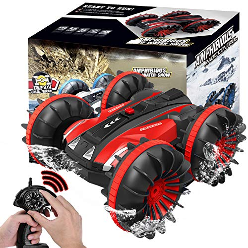 Kids Toys for 5-12 Year Old Boys Girls RC Car/Boat Remote Control Cars Pool Water Toy Gift Off Road Rock Crawler 4WD 2.4Ghz Waterproof Stunt Radio Controlled Vehicles Christmas/Birthday Gift