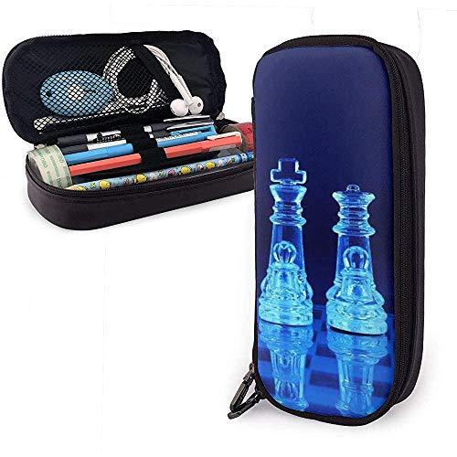 Estuche de lápices de cuero azul PU de ajedrez de vidrio, bolsa de bolígrafo, organizadores de papelería duraderos con doble cremallera 20 * 9 * 4 cm (8X3.5X1.5 pulgadas)