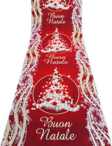 Corsia Natalizia Glitterata con Stampa (Buon Natale Rosso)