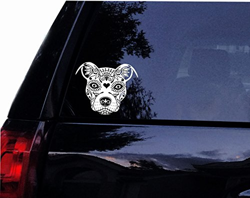 "Tshirt Rocket Sugar Skull Pit Face - Pit Bull Dog Terrier Vinyl Car Decal, Laptop Decal, Car Window Wall Sticker (10"")"