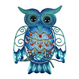 Liffy Home Owl - Colgante de Pared de Metal y Cristal, Decorativo, para Colgar en...