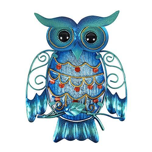 Liffy Metal Búho Decoración de Pared Decoración de Pared al aire libre Arte Colgante de Cristal Azul Escultura de Pájaro para Patio, Porche o Puerta