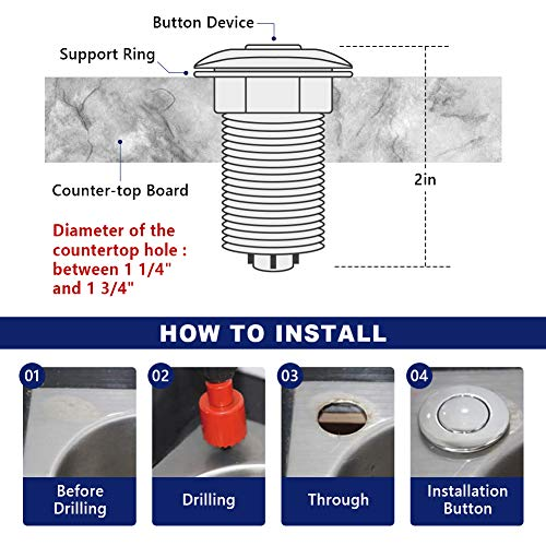 Air Activated Switch Button with Air Hose, Sink Top White Push Button for Food Waste Garbage Disposal Part (Short, 2 Inch)