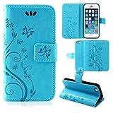 betterfon | Flower Hülle Handytasche Schutzhülle Blumen Klapptasche Handyhülle Handy Schale für Apple iPhone 5 / 5s / SE Blau
