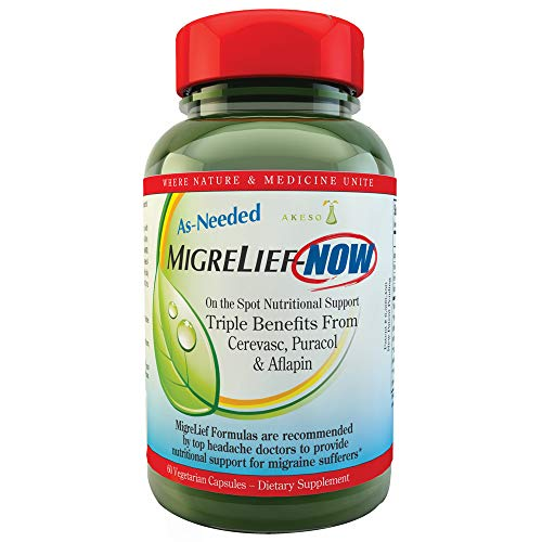 MigreLief-Now - Fast Acting Formula, As Needed Nutritional Support for Migraine and Headache Sufferers - 60 Vegetarian Capsules