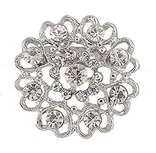 OHlive - Broche de novia con forma de corazón con tachuelas de diamante y diamantes de imitación para bufandas cubiertas (plata)