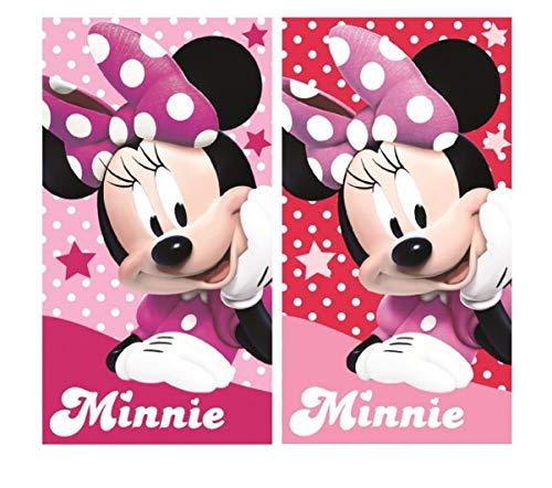 Disney MS01 - Juego de 2 toallas de cara para niños (100% algodón), diseño de Minnie Mouse