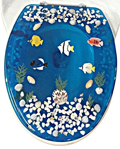 """Transparent Fish Aquarium Round Standard Size Toilet Seat with Cover Acrylic Seats.(Blue""""17 Inch)"""