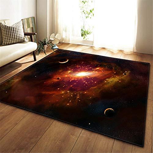 XuJinzisa Galaxy Space Starry Sky Alfombra Antideslizante De Franela Súper Suave Impresión 3D Sala De Estar Dormitorio Alfombra Decoración del Hogar Estera W6937 180X180Cm