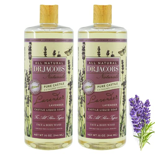 Dr. Jacobs Naturals Pure Castile Soap - All Natural Face And Body Wash - Hypoallergenic and Dermatologist Approved (Lavender Castile Soap, 32 Oz (Pack of 2))