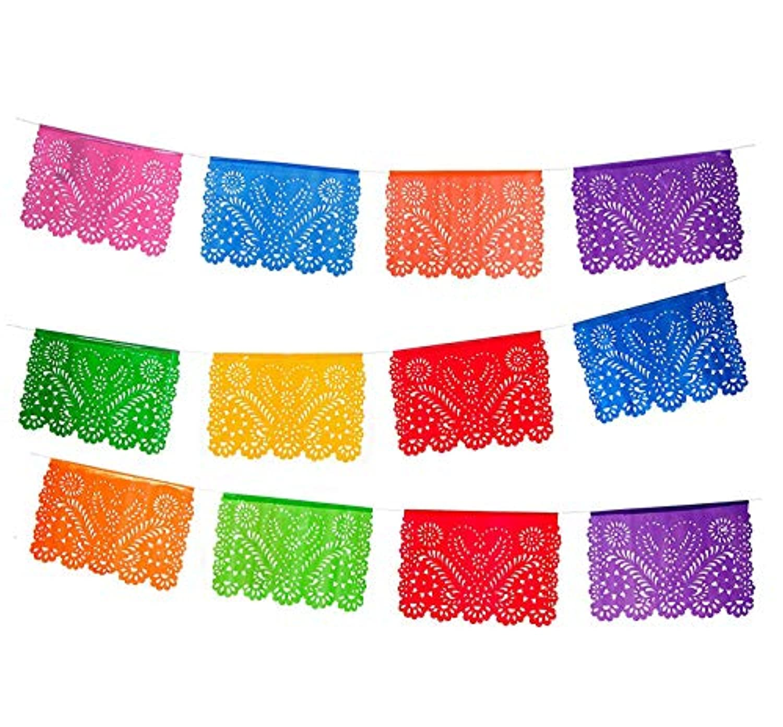 Medium Plastic Picado Banner - Papel de Corazon Design - Banner includes 12 Panels and is 16 Feet Long Hanging