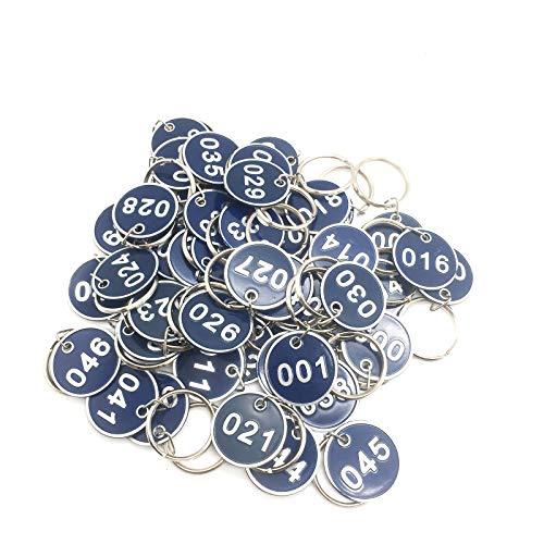 Etiquetas Número De Identificación Numeradas Llaveros aleación Aluminio Etiquetas Etiqueta Numerados con Llavero Etiquetas Para Casilleros Equipaje Organizar y Clasificar 1 to 50 azul 50 Piezas