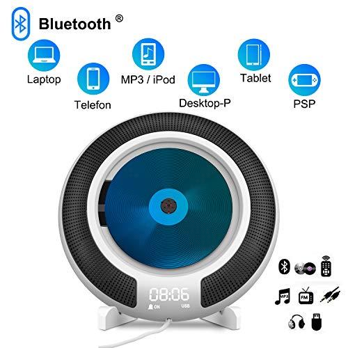 CD Player, Tragbarer CD-Player, wandmontierbar Bluetooth HiFi-Lautsprecher, LED-Display, Power an oder aus mit Zugschalter, FM-Radio MP3 USB mit 3,5 mm Kopfhöreranschluss