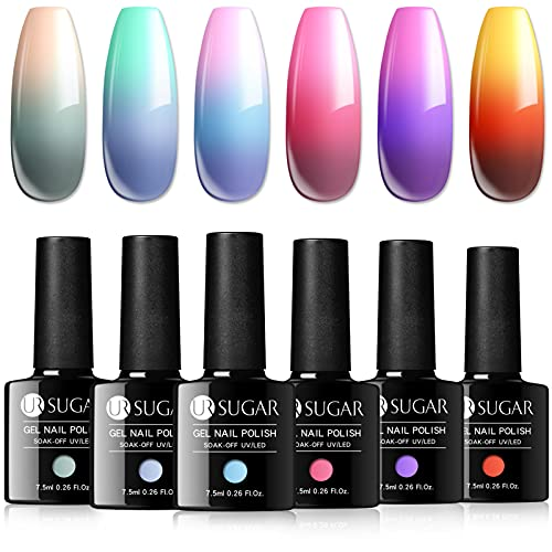UR SUGAR Color Changing Gel Nail Polish Set Temperature Mood Change Gel Polish Kit Schools in Session Gifts Thermal Gel Polish for Fall Autumn Winter Colors 6 Pcs Collection Home DIY for Women