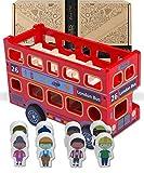 Jaques di Londra Grande Autobus Giocattolo Rosso di Londra con passeggeri - Veicolo Giocattolo Inglese in Legno per Ragazze e Ragazzi Gioco - Perfetto per Bambini e Ragazzi di 2 3 4 Anni dal 1795.